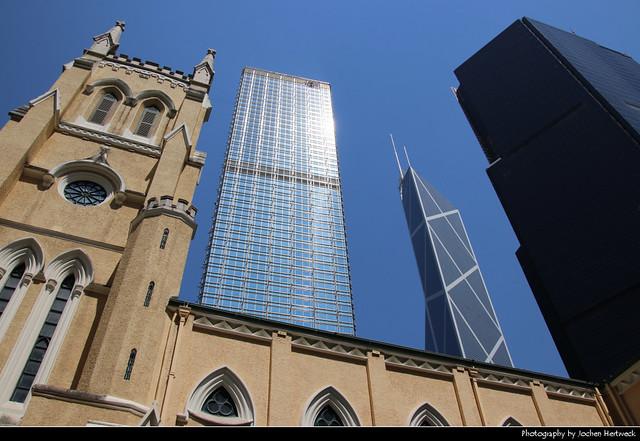 St. John's Cathedral, Cheung Kong Centre & Bank of China Tower, Hong Kong, China