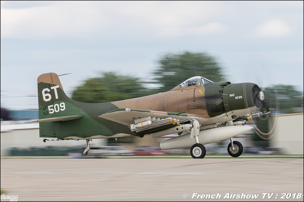 A-1D Skyraider Bad News EAA Oshkosh 2018