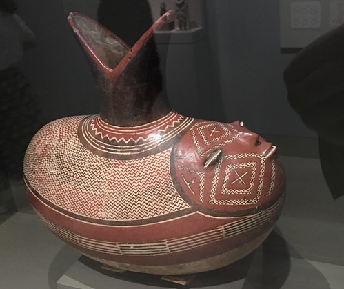 Elliptical bottle depicting a sprouting bean with a human face. 300-100 BC, Mexico | by DanCentury
