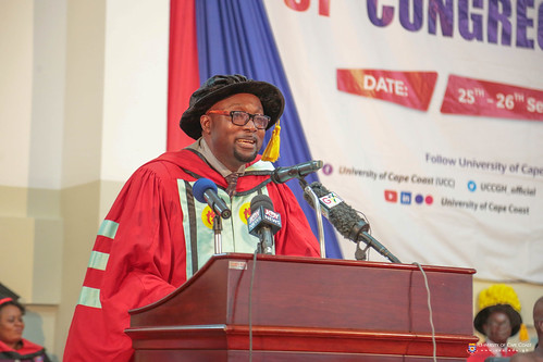 Prof. Ernest L. Okorley, Dean School of Graduate Studies, presenting graduands to be conferred with degrees