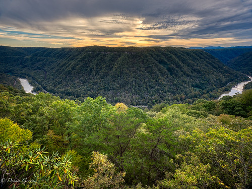 westvirginia autumn clouds fall landscape landscapemountain mountains newrivergorge river sunset trees water