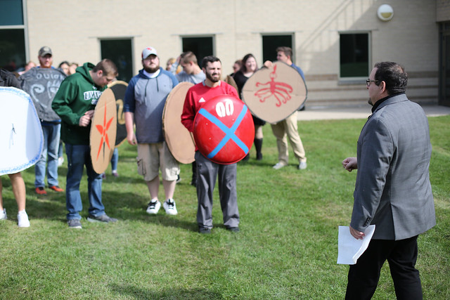 Greg Aldrete History Class in Quad - Hoplite Battle