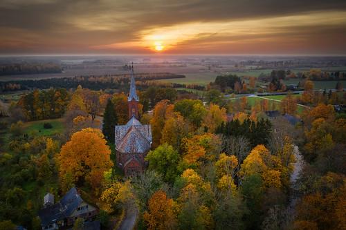 estonia mavic2pro tartucounty aerial aerophoto autumn dronephoto outdoor sky sunset äksi