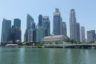 The Merlion Park, backed by tall buildings in the Marina Bay area