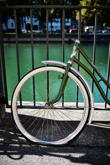 Couple: Green bike - green river