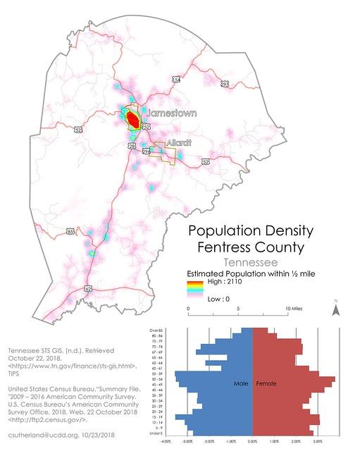 Population Density of Fentress County, Tennessee