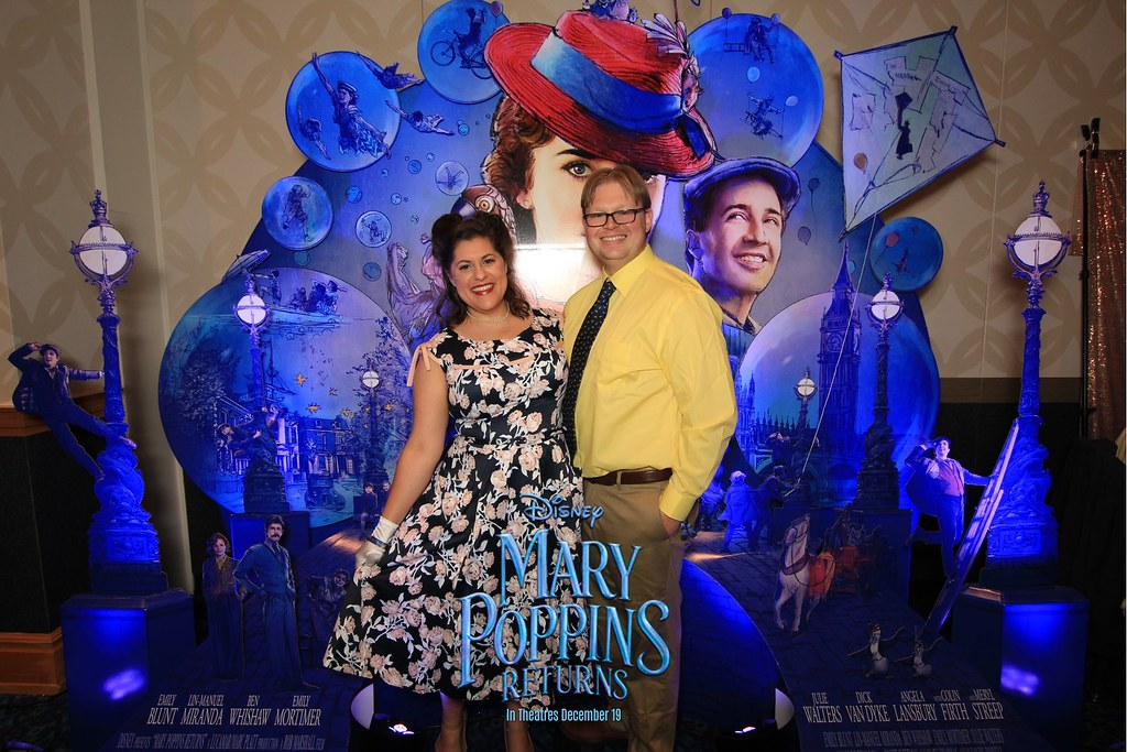 At the promo booth for Mary Poppins Returns