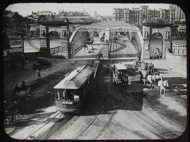 Traffic on Victoria Bridge, Brisbane, Qld - circa 1920 (Explore #86)