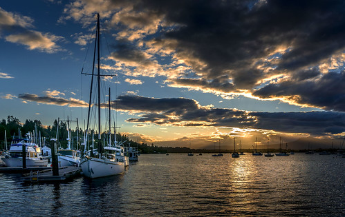 cowichan bay sunset evening clouds sail boats marine marina waterfront seashore reflections outdoors vessels contrast prioux