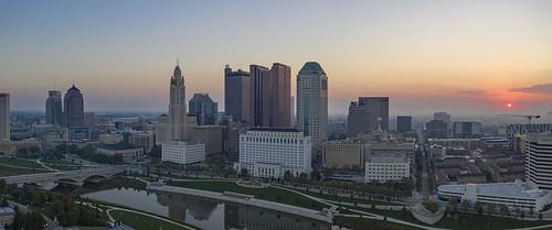 sunrise columbus cityscape downtown mavicpro magicpro2 drone architecture