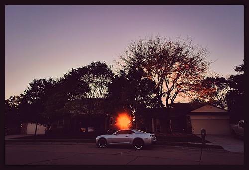 sunset car urban street house