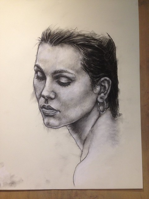 WIP. Charcoal and chalk portrait based on one of  Joan Fradera's beautifully captured photographs.