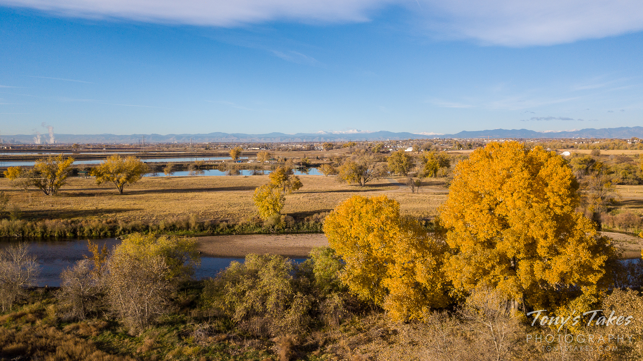 Fall colors on the Colorado Front Range as seen from the air