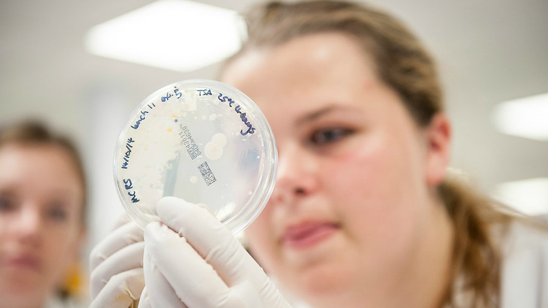 A female student holding up a petri dish