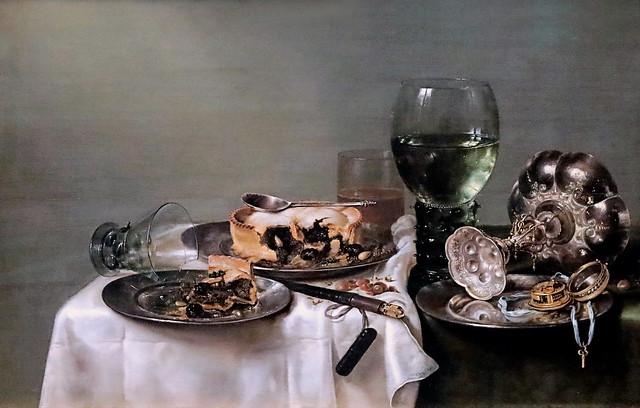 IMG_6708 Willem Claesz Heda. 1594-1680. Haarlem. Breakfast Table with blackberry pie.  Table de petit déjeuner avec tarte aux mûres 1631 Dresde. Gemäldegalerie Alte Meister.