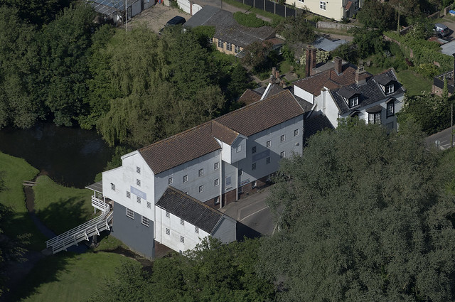 Stoke Holy Cross Mill in Norfolk - aerial image