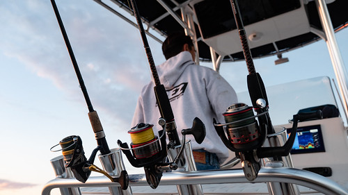Photo of man driving a boat with fishing rods on the back