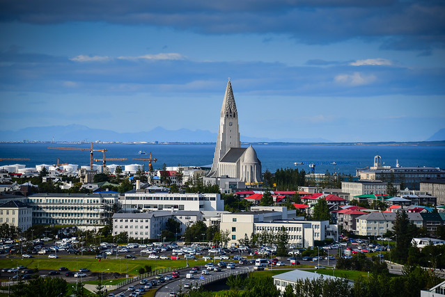 View of Hallgrimskirkja church from Observation Deck at the Perlan Museum - Reykjavík Iceland
