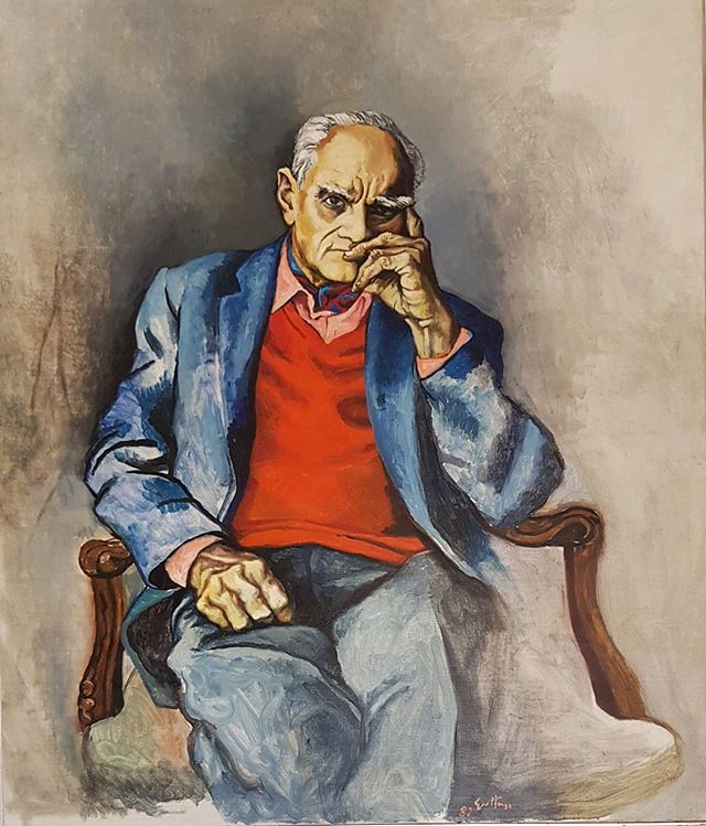 Dal soggiorno della sua ultima abitazione in Lungotevere della Vittoria 1, Alberto Moravia ritratto da Renato Guttuso sembra scrutare, pensoso, un po' scettico ma partecipe, l'ospite. La #CasaMuseoAlbertoMoravia è aperta con visita guidata ogni 1° sabato