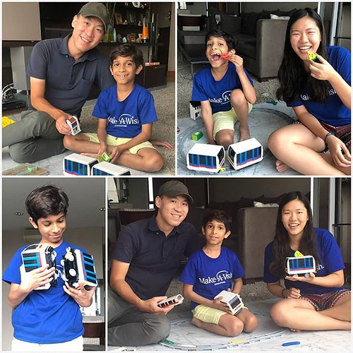 Happy to inspire and develop our builders of tomorrow! @artisanbricks had an exclusive brick building session with cancer survivor Zahaan, 8, and @makeawishsingapore volunteer @annabellekwok. Hope you like the #LRT #train that I designed specially for you | by www.artisanbricks.com