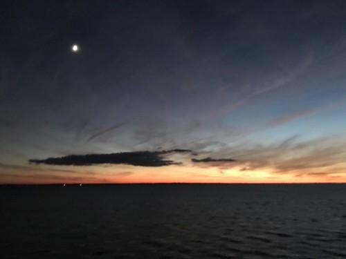 somewhereinthemiddle chowanorwashingtoncounty soundbridge albemarlesound sound coastalnc nc moon sunset