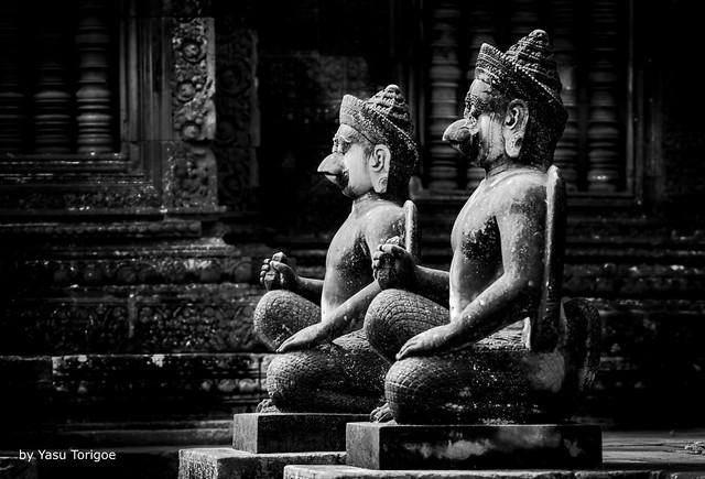 Two Dvarapalas (demonic temple guardians) Statues at Banteay Srei Temple, Angkor, Cambodia-47a