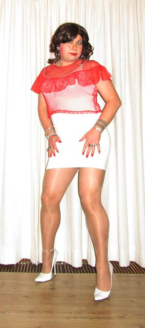 Shades of red and white (2) - a fishnet red top over white attire