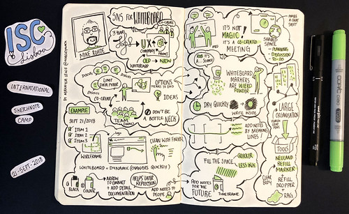 Sketchnotes from International Sketchnote Camp 2018 'SNS for Whiteboard with Mike Rohde' (Drawn by Dr Makayla Lewis) | by maccymacx