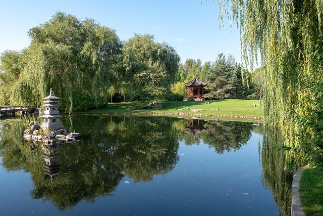 Berlin, Gärten der Welt, Chinesischer Garten: Ruhig daliegender See - Berlin, Gardens of the World: Calm lake in the Chinese Garden