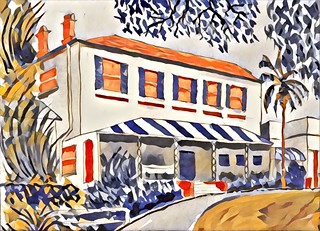"""Bidura"", Glebe Point Road. Watercolour sketch, with Prisma filter, October 2018"