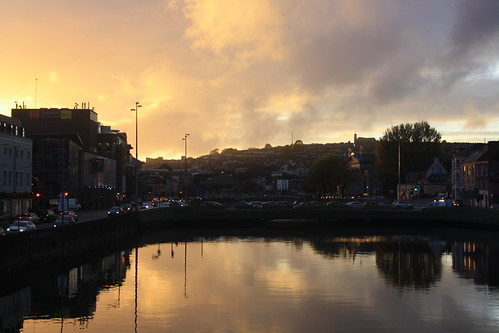 cork ireland irish river lee riverlee urban city center centre sun sunset