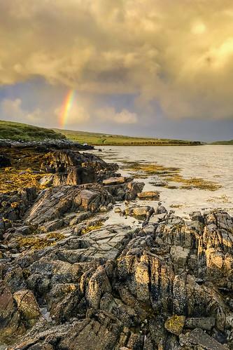 ireland wildatlanticway beach eco clifden rainbow landscape coast coastal water rocks sly clouds sun view amazing sea seaside day photography camping campsite caravan