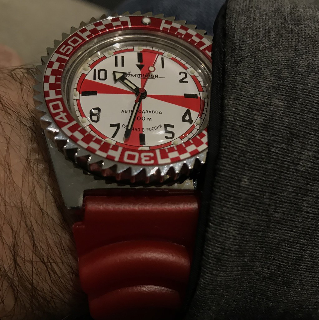 Vostok Radio Room with red Zulu Diver rubber strap