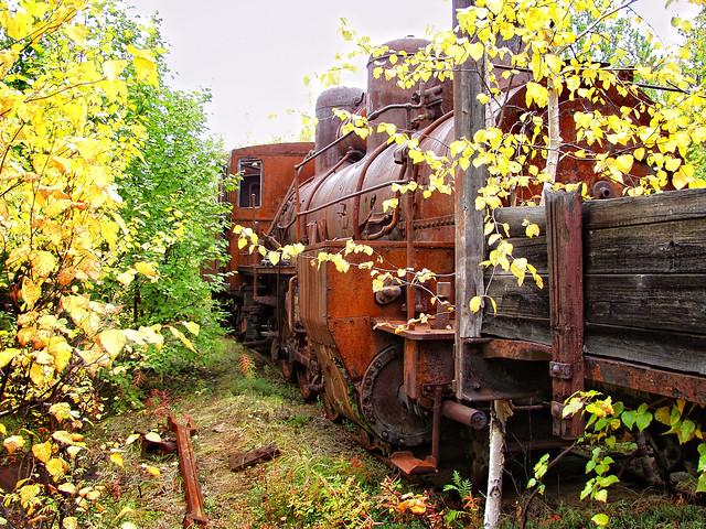 Steam locomotive on an abandoned Arctic road near Nadym