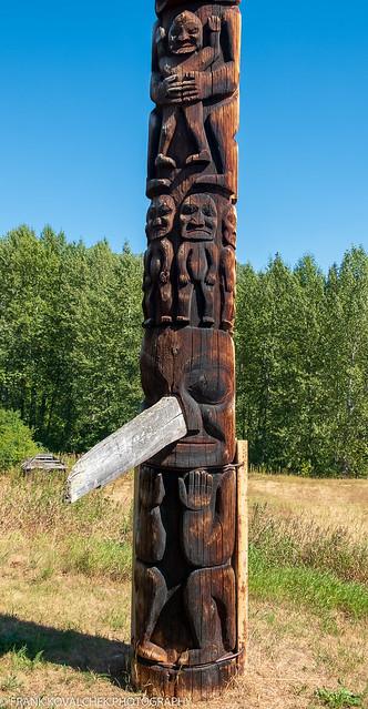 Totem poles in Gitanyow, BC