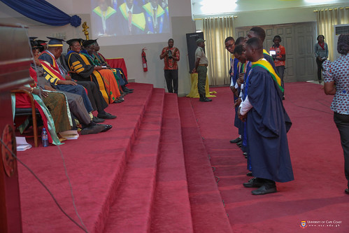 Some First Class Honours graduands waiting to be advised by the Vice-Chancellor and Pro-Vice-Chancellor.