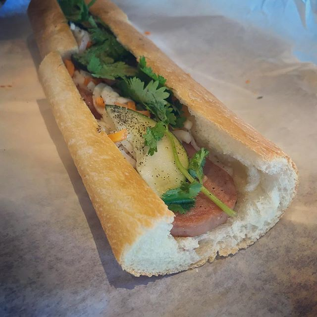 #kvpinmybelly My new favorite spot for Bahn Mi in #SanDiego. Spam Bahn Mi from Cali Bahn Mi in Kearny Mesa. NOM! Great combo of salty meat and pickled veggies on a baguette. #bahnmi #spam