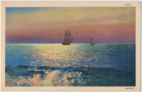chesapeake bay maryland vintage postcard ephemera sailboat boat sunrise sunset tritonbeach