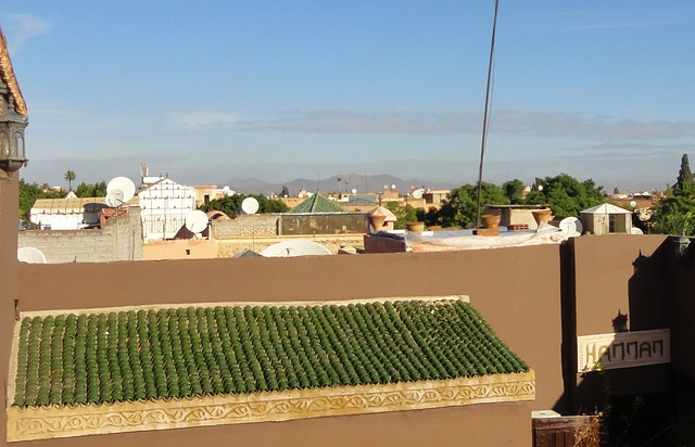 landscape of Marrakech from the rerrace of Riad Mille et une Nuit