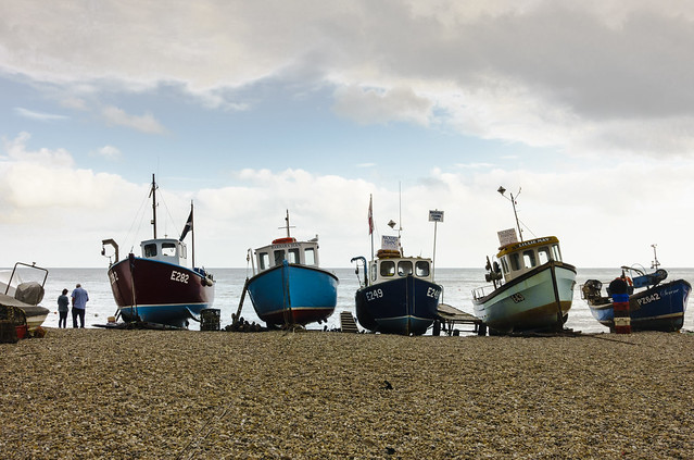 Boats on beach at Beer, South Devon