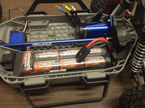 Battery pack inserted into chassis.