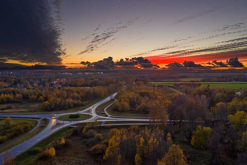 estonia hdr mavic2pro tartucounty tartumaa aerial aerophoto autumn dronephoto landscape outdoor road sky sunset trees