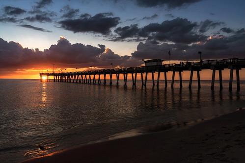 sunset pier gulfofmexico clouds vacationspot traveldestination dramaticsky venicefishingpier venice florida