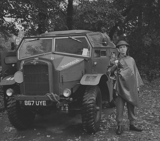Me standing next to a Quad, morris commercial field artillery tractor