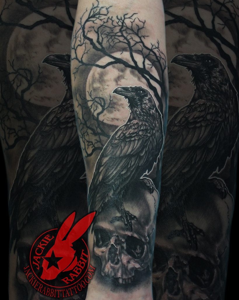 Raven Crow Perched Sitting Skull Full Moon Tree Branch Cre Flickr