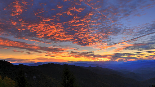 sunset from waterrock knob along blue ridge parkway north carolina