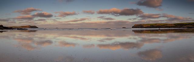Polzeath Beach at sunrise.