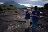 The Fuego's pyroclastic flows ran down the volcano slopes destroying crops, forests, roads and bridges, and burying nearby villages such as El Rodeo. Here, an EU Civil Protection expert assesses damages with Guatemala's National Institute for Seismology, Volcanology, Meteorology and Hydrology (INSIVUMEH).  © 2018 European Union (photo by S. Billy)