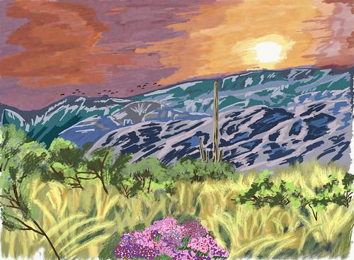 saguaronationalpark saguaronationalparkrinconmountaindistricteast lookingnorth day1 desert desertlandscape sonorandesert saguaro cactus carnegieagigantea saguarocactus outside landscape nature sunny blueskies cactusacrossdesertlandscape mountains mountainsindistance mountainsoffindistance desertplantlife intermountainwest southwestbasinsandranges southeastarizonaranges huachucaarea santacatalinamountains blackettsridge cactusforestscenicloopdrive cactusforestdrive micaviewtrail thimblepeak arborescenttreelikecactus digitalpainting adobedraw adobeillustratordraw ipad artdigital ipadprodrawing applepencil azimuth346 arizona unitedstates
