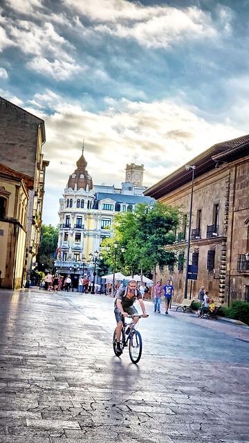 Cyclist in Oviedo, Spain